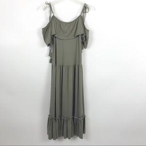 Rebecca Minkoff Green Off Shoulder Maxi Dress
